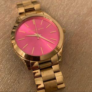 Hot pink + gold Michael Kors watch